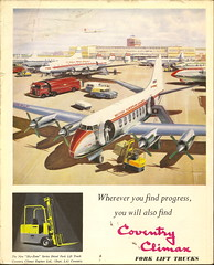 """Coventry Climax fork lift trucks, advert, - from """"London Airport, Official Guide, 1956"""""""