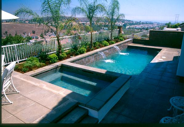 "Rectangle Pool With Spa rectangle pool & spa | 18"" raised spa with color concrete de… 