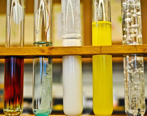 test tubes with diverse fluids