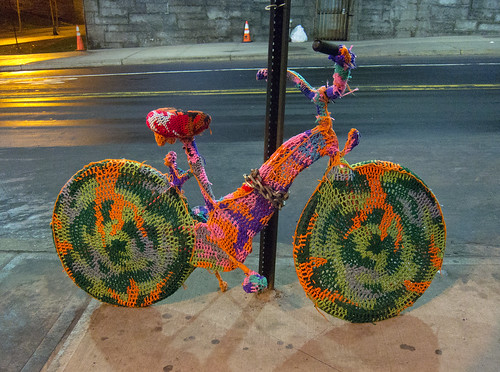 Crocheted Bike by Olek Under The Brooklyn Bridge | by Scott Beale