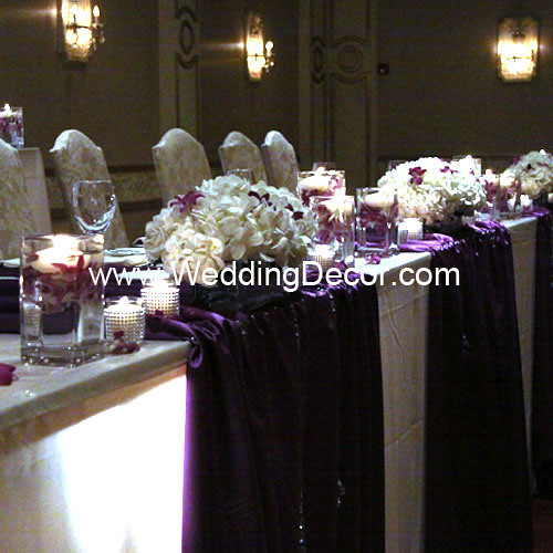 Wedding Head Table Flowers: Head Table Decorations - Royal Purple & Ivory