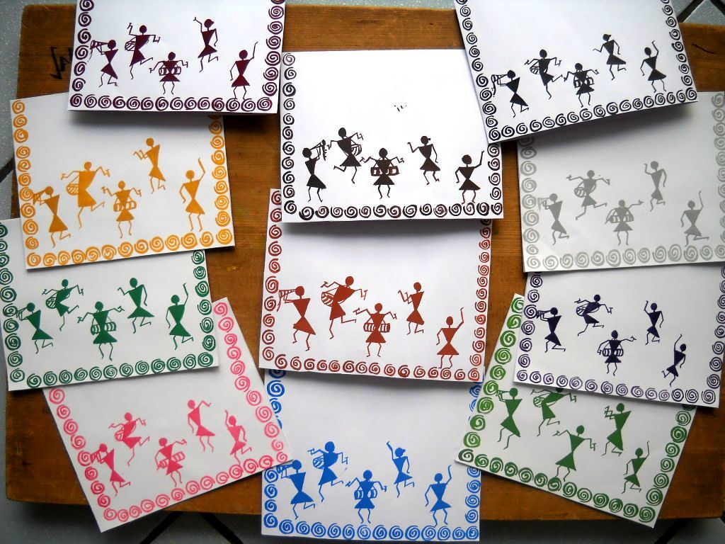 Warli Cards | Going forward with my obsession over Warli ...