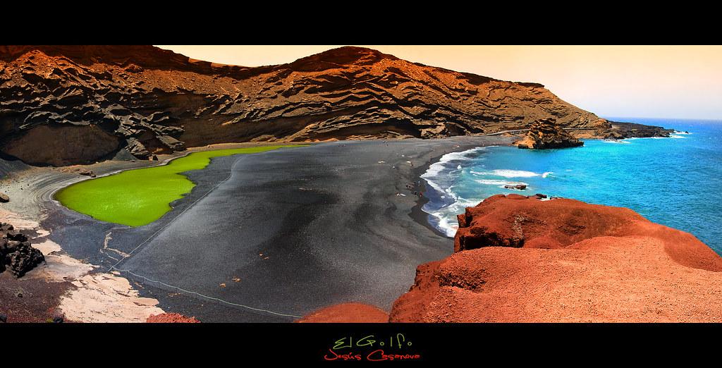 Playa de El Golfo. Lanzarote panoramica | Es muy curioso ... | 1024 x 522 jpeg 424kB