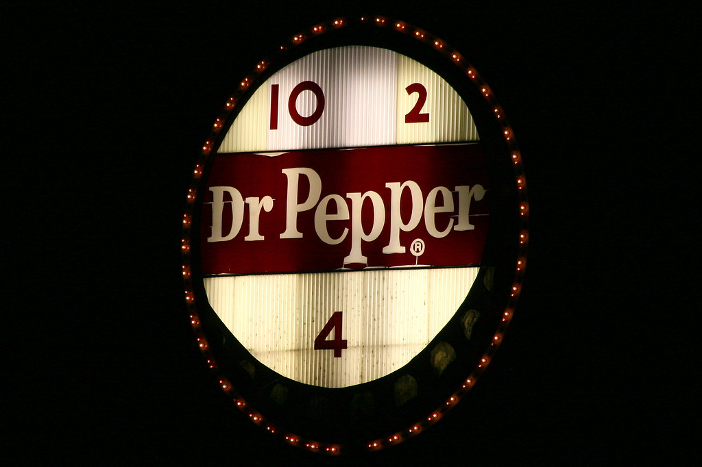 roanokes vintage dr pepper sign at night this sign was