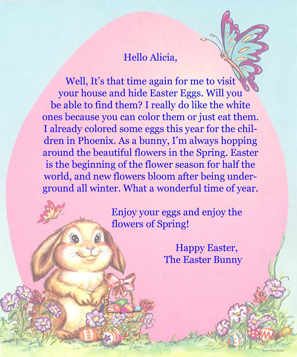 Easter bunny letters free letters from the easter bunny for Letter to easter bunny template