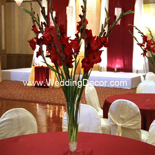 Wedding centerpieces red gladiolus a