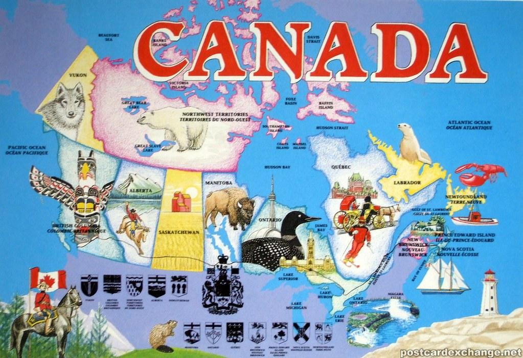 Map Of Canada  postcardexchangenetmapofcanadapostcard