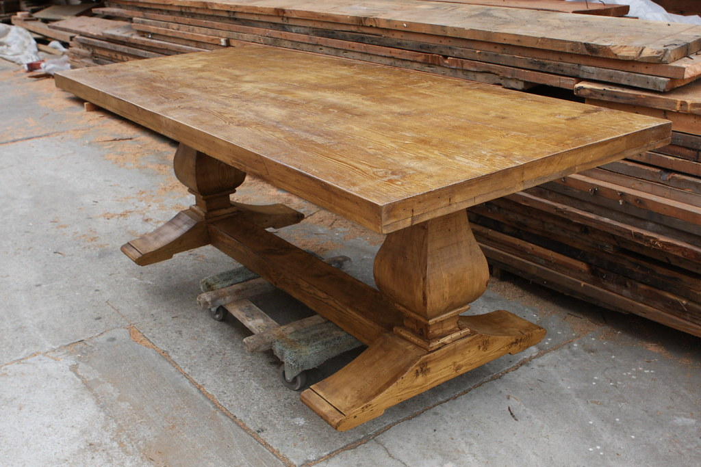 Reclaimed wood trestle dining table for Where to buy reclaimed wood los angeles