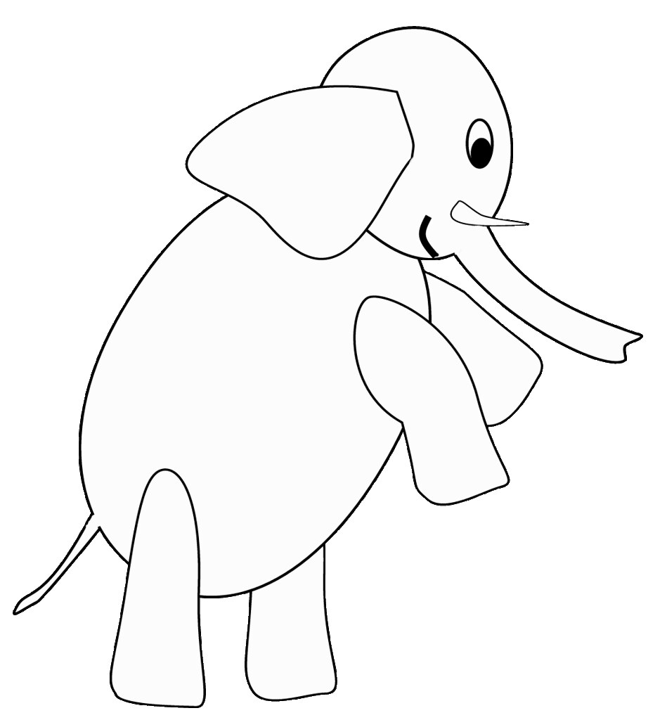B&W elephant standing sketch clipart to color, 20 cm | Flickr