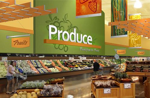 interior market design grocery store rendering produce area design grocery store design. Black Bedroom Furniture Sets. Home Design Ideas