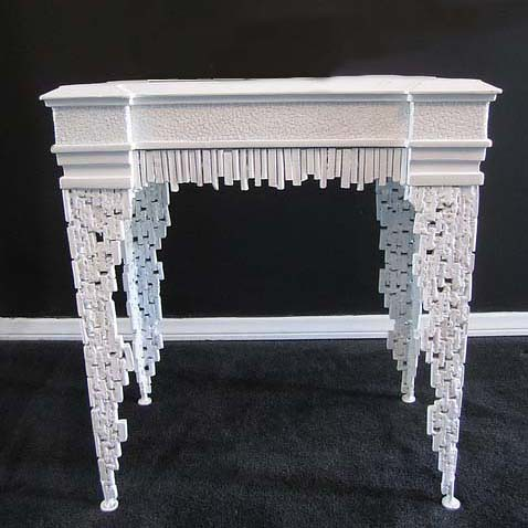 4158 WHITE ORNATE DECORATIVE TABLE | by Diva Rocker Glam (310) 652-8711