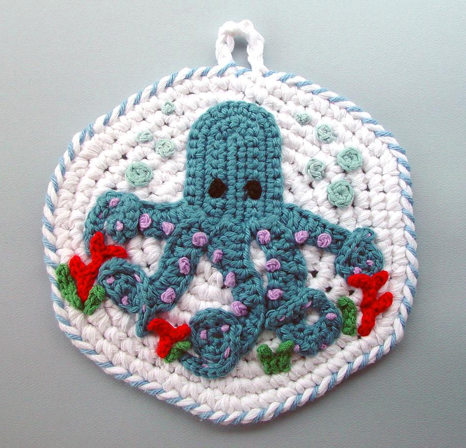 Easter Pot Holders Crochet: Crochet Blue Octopus Kitchen Pot Holder