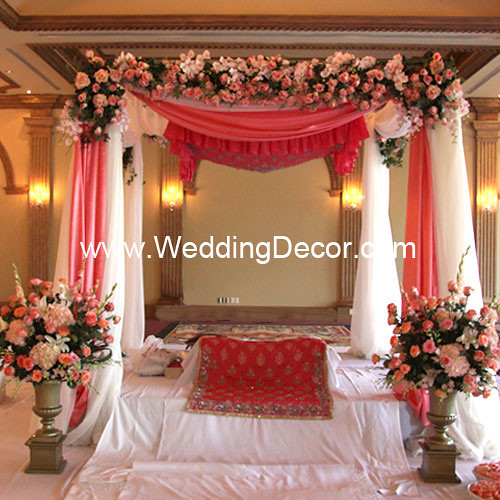 indian wedding decorations in india mandap coral amp ivory a wedding mandap in coral and 5094