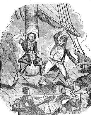 A drawing showing Blackbeard's death