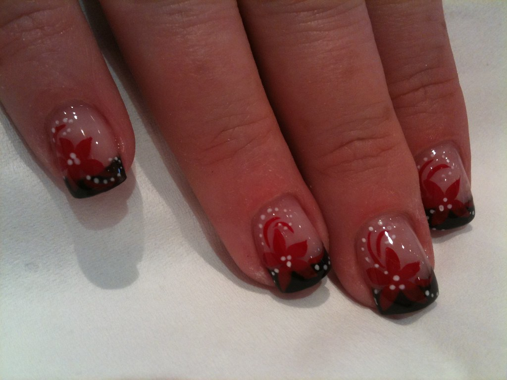 black gel tips and red flower nail art eyecandynails