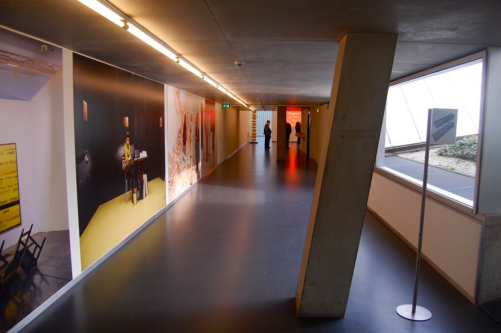Interior of Rem Koolhaas' Kunsthal Museum. Much of the ci ...