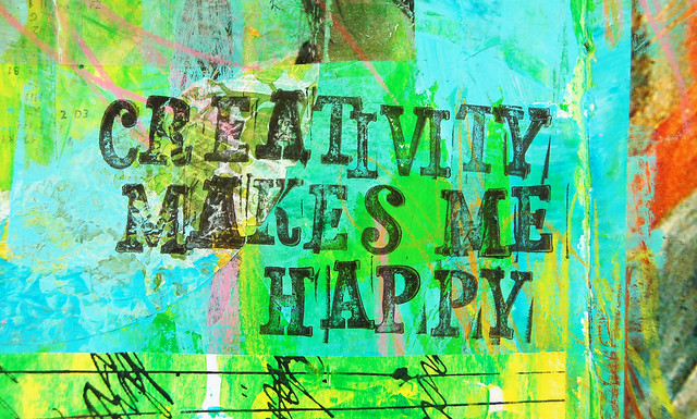 Creativity makes me happy stamped art journal message by iHanna