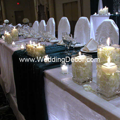 Wedding Head Table Flowers: Head Table Decorations - Hunter Greeen & White