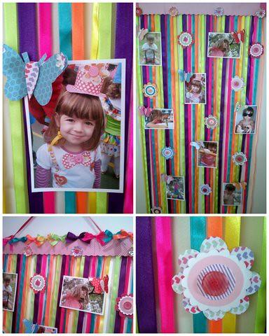 Mural para fotos feito com fitas de cetim borboletas f - Mural de fotos ...