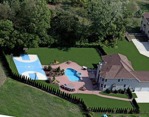 Luxury Pool Design Basketball Court Backyard Patio