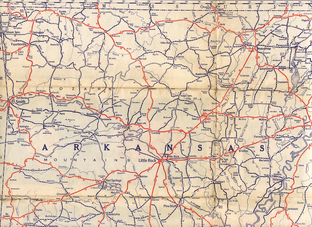 1933 Mobil Road Map  Detail Of Northern Arkansas