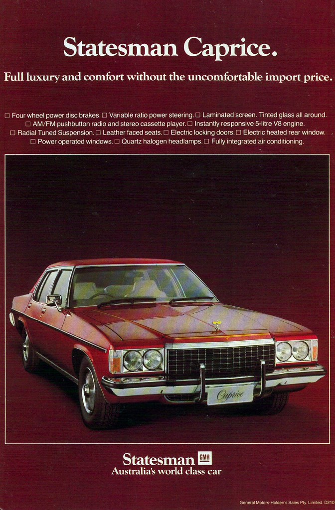 1978 Holden Hz Statesman Caprice Ad Australian Magazine