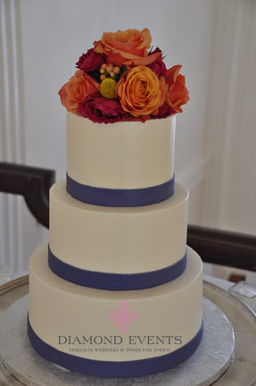 3 Tier Round Wedding Cake Purple fondant ribbon and ...