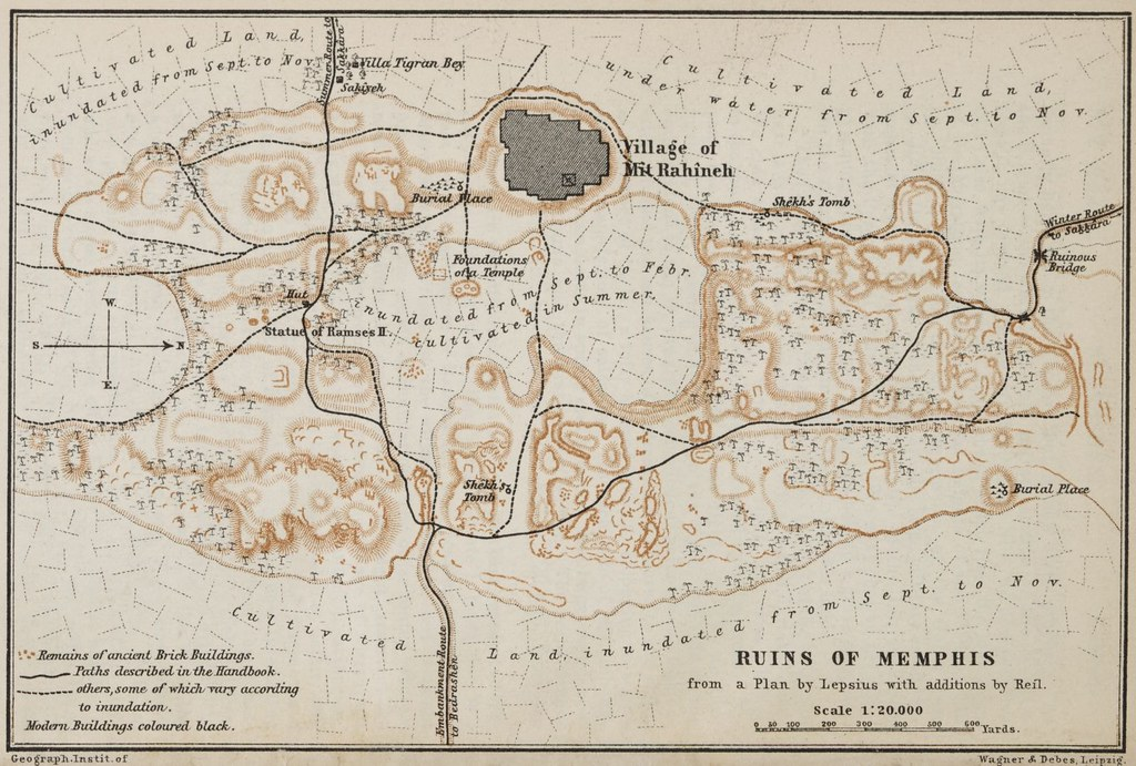1885 map of the ruins of memphis egypt view larger www for Memphis plan
