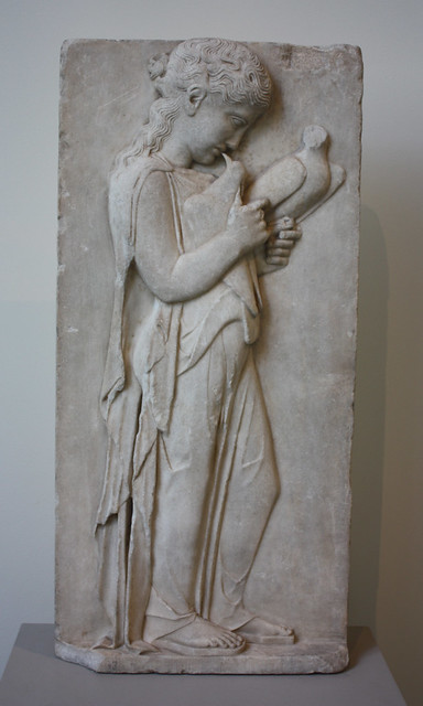 marble grave stele of a little girl Greek, attic / grave stele of a youth and a little girl with finial in the form of a sphinx / ca 530 bc.