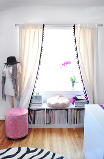 office window+bookshelf seat  under the window+curtains DIY with tassels | by ...love Maegan