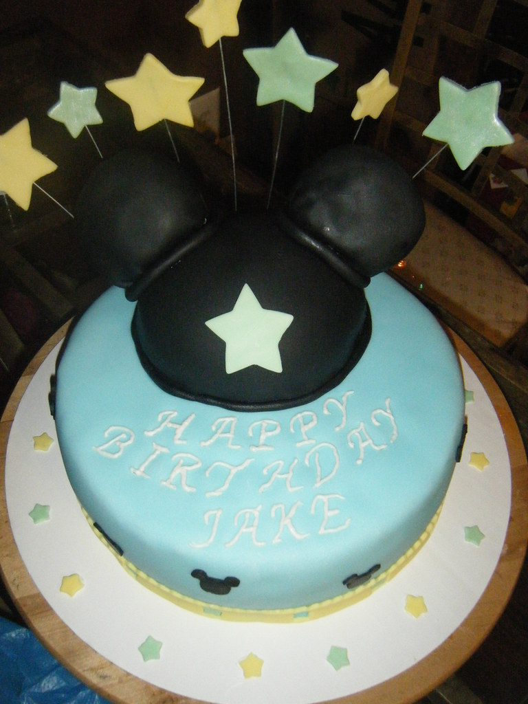 Enjoyable Baby Mickey Birthday Cake Yellow Cake With Dulce De Leche Flickr Funny Birthday Cards Online Alyptdamsfinfo