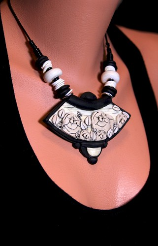 """IVORY TRIBE"" ""IVORY ARTIFACT"" One of a Kind necklace carved and sculpted in Polymer clay 
