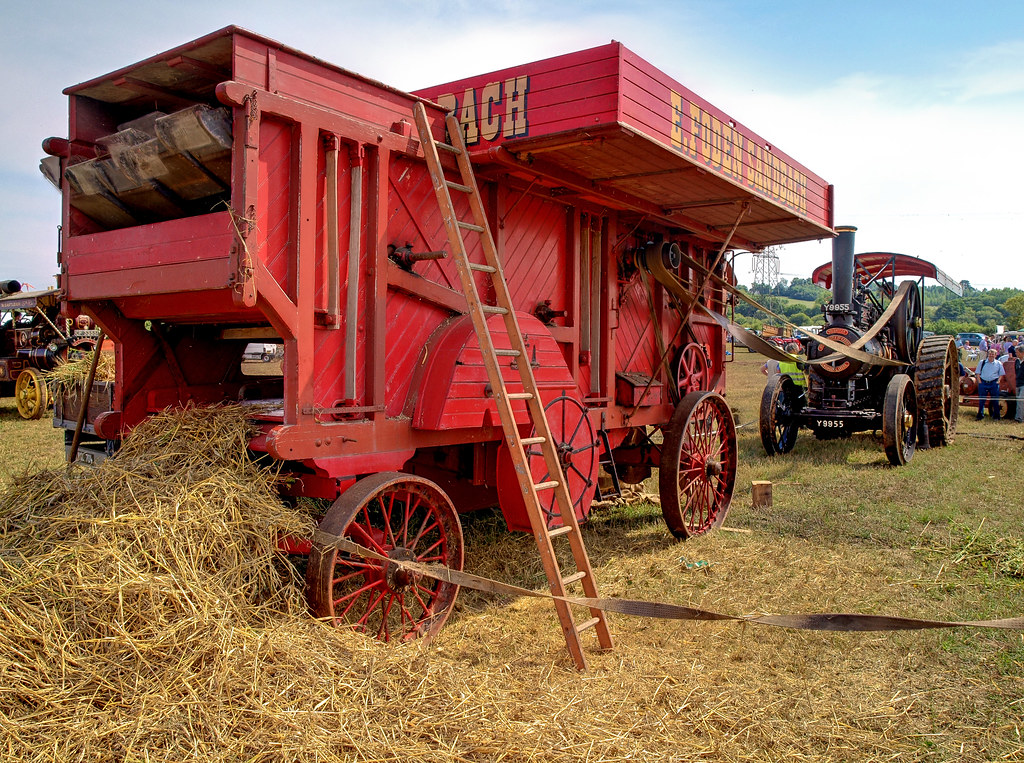A Vintage Foden Threshing Box Powered By A Steam Engine At