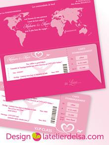 Custom fly ticket wedding invitation • faire-part billet d ...