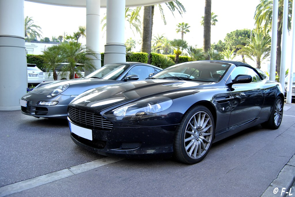 aston martin db9 volante et porsche 911 cannes h tel mart flickr. Black Bedroom Furniture Sets. Home Design Ideas