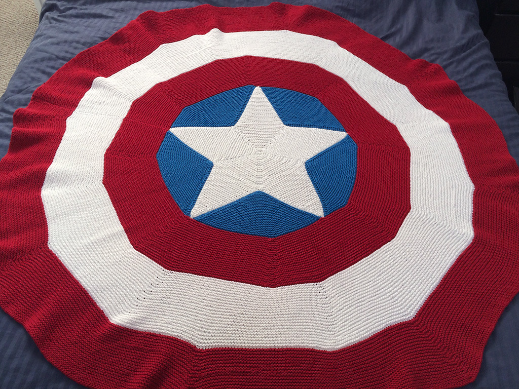 Free Crochet Pattern For Captain America Blanket : Captain Americas Shield Yarn: Lion Brand Cotton-Ease in ...