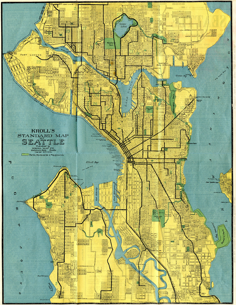 Seattle Map 1914 Kroll 39 s Standard Map of Seattle Publ