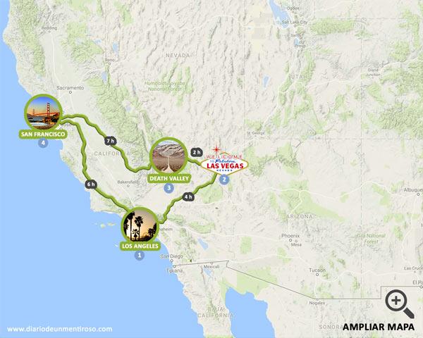 Mapa de una semana de ruta por la Costa Oeste de los Estados Unidos