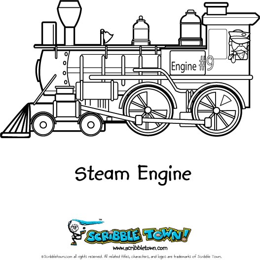 Steam Train - Free Colouring Pages
