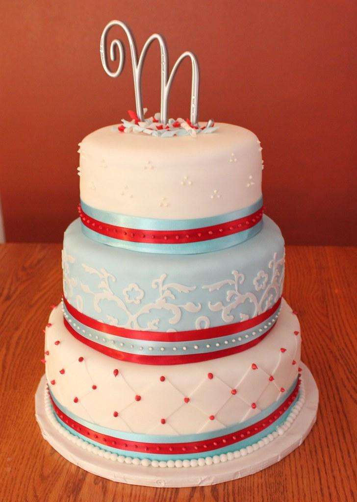 Red White Blue Wedding Cake