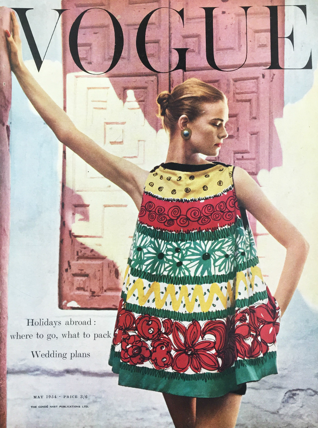 Vogue May 1954, UK, British, cover, half circle blouse, summer