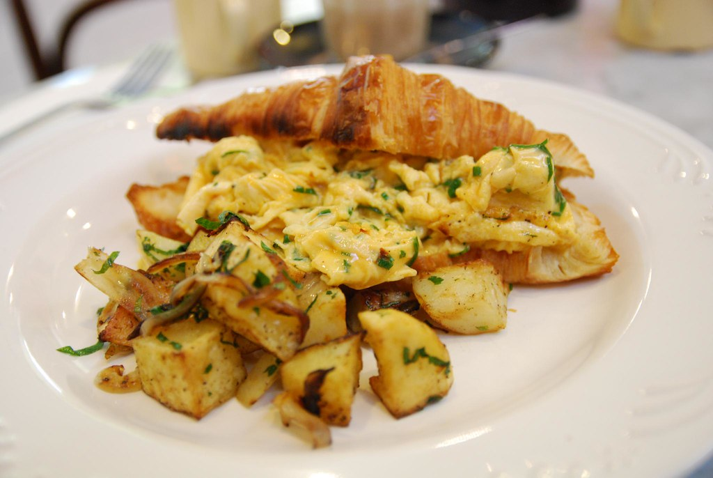 Fried potatoes - Croissant, Scrambled Eggs with Fresh Herb… | Flickr