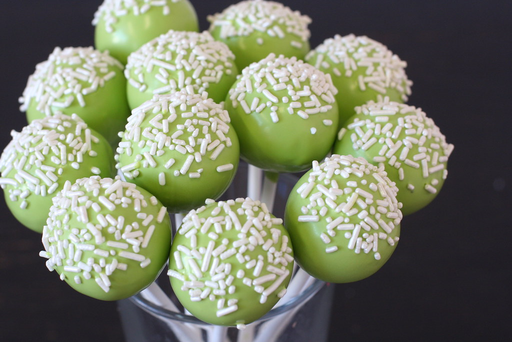 Green And White Cake Pops