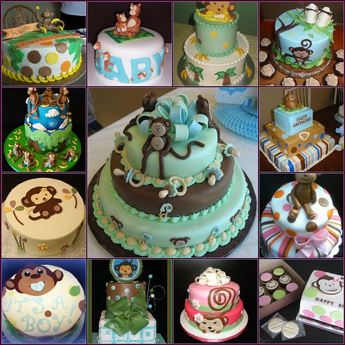Monkey baby shower cakes flickr photo sharing - Baby shower monkey theme cakes ...