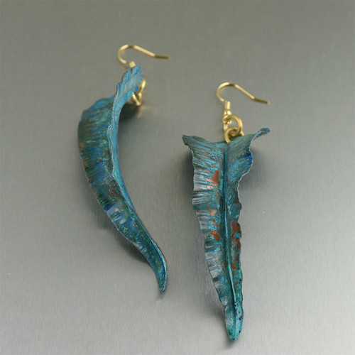 Fold Formed Blue Patinated Leaf Earrings | by johnsbrana