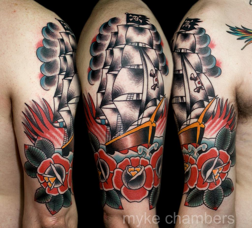 Tattoo Ideas Classic Ships Piercing Ideas Tattoo: Pirate Ship Tattoo Myke Chambers Water Mark
