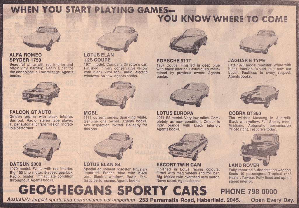 1972 Geoghegans Sports Cars Dealership Ad Australia Flickr