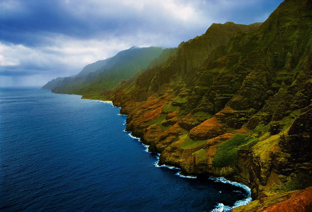 Napali Coastline Kauai Hawaii From Aerial Helicopter Int