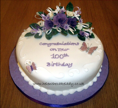 Birthday Cake Designs For A Lady : 100th round birthday cake I was asked to decorate a cake ...