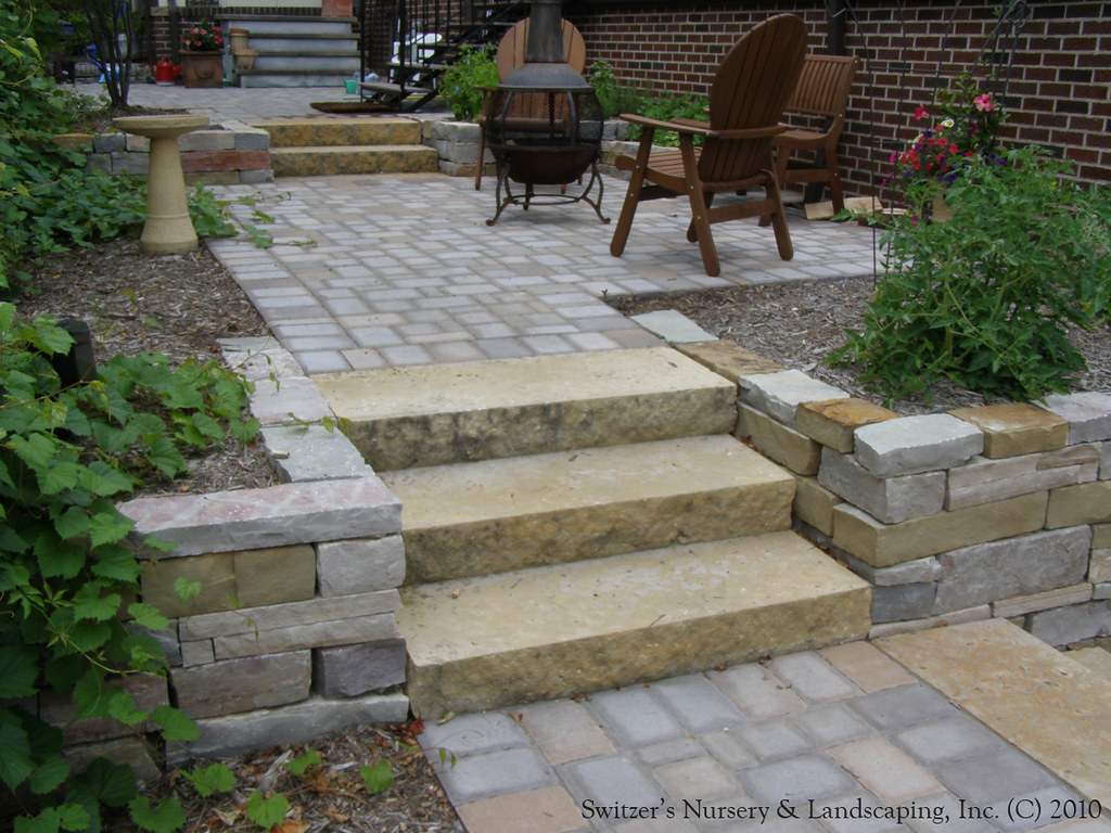 Complete backyard renovation kasota natural stone steps for Pictures of stone steps